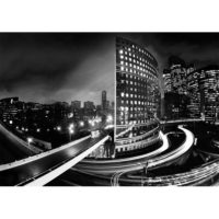 Fototapeta New York By Night Skyline Black White 368 x 254