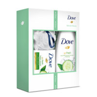 Dove set FRESH TOUCH BOX - gel za tuširanje, sapun i pufna
