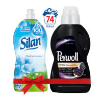 Silan-Mediterranean-Omekšivač-1850ml-&-Perwoll-Renew-Advanced-Black-Tečni-deterdžent-900ml